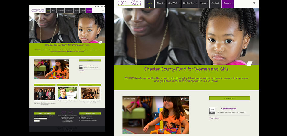 Chester County Fund for Women and Girls website homepage
