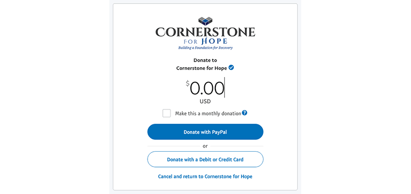 Cornerstone for Hope donation integration