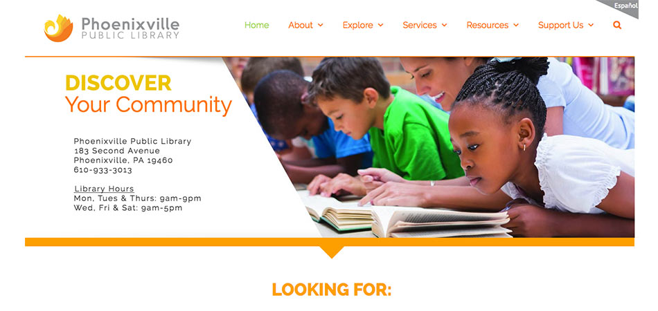 Phoenixville Public Library website homepage