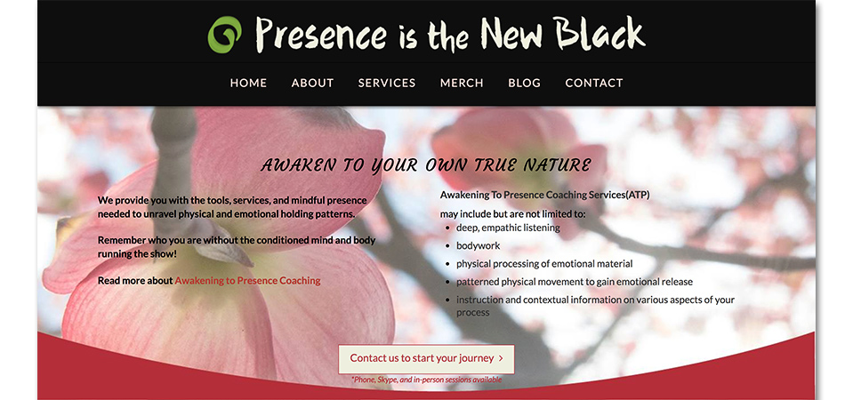 Presence is the New Black homepage
